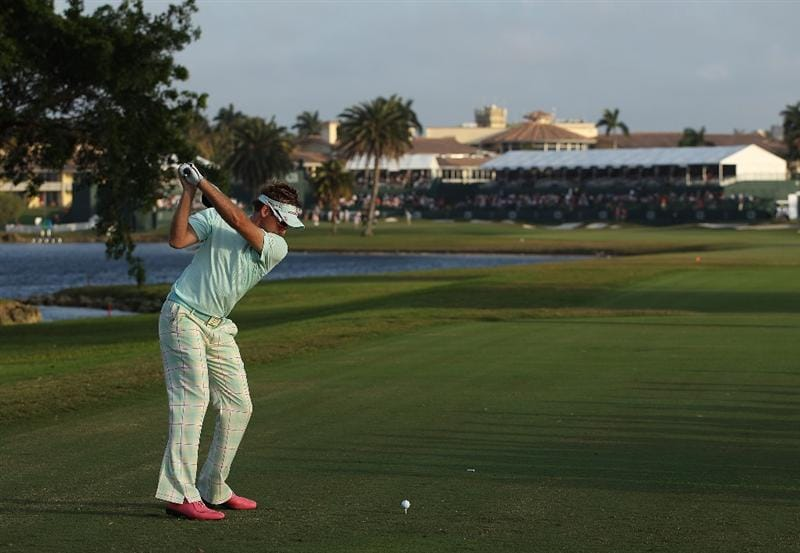 DORAL, FL - MARCH 11:  Ian Poulter of England tees off on the 18th tee box during round one of the 2010 WGC-CA Championship at the TPC Blue Monster at Doral on March 11, 2010 in Doral, Florida.  (Photo by Scott Halleran/Getty Images)