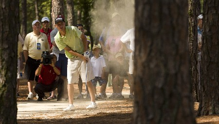PINEHURST, NC - AUGUST 24: Drew Kittleson hits from the woods along the 11th hole during the final round of the U.S. Amateur Championship at Pinehurst Resort & Country Club August 24, 2008 in Pinehurst, North Carolina.  (Photo by Chris Keane/Getty Images)