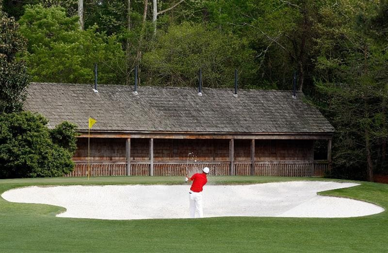 AUGUSTA, GA - APRIL 11:  Anthony Kim hits a bunker shot on the 11th hole during the third round of the 2009 Masters Tournament at Augusta National Golf Club on April 11, 2009 in Augusta, Georgia.  (Photo by Jamie Squire/Getty Images)