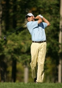 Bill Haas hits his tee shot on the 8th hole during the final round of the Turning Stone Resort Championship at Atunyote Golf Club September 23, 2007 in Verona, NY. PGA TOUR - 2007 Turning Stone Resort Championship - Final RoundPhoto by Mike Ehrmann/WireImage.com
