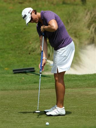 KUALA LUMPUR, MALAYSIA - OCTOBER 23 : Maria HJorth of Sweden putts on the 8th hole during Round Two of the Sime Darby LPGA on October 23, 2010 at the Kuala Lumpur Golf and Country Club in Kuala Lumpur, Malaysia. (Photo by Stanley Chou/Getty Images)