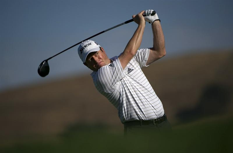 SAN MARTIN, CA - OCTOBER 14:  Tim Clark of South Africa makes a tee shot on the sixth hole during the first round of the Frys.com Open at the CordeValle Golf Club on October 14, 2010 in San Martin, California.  (Photo by Robert Laberge/Getty Images)