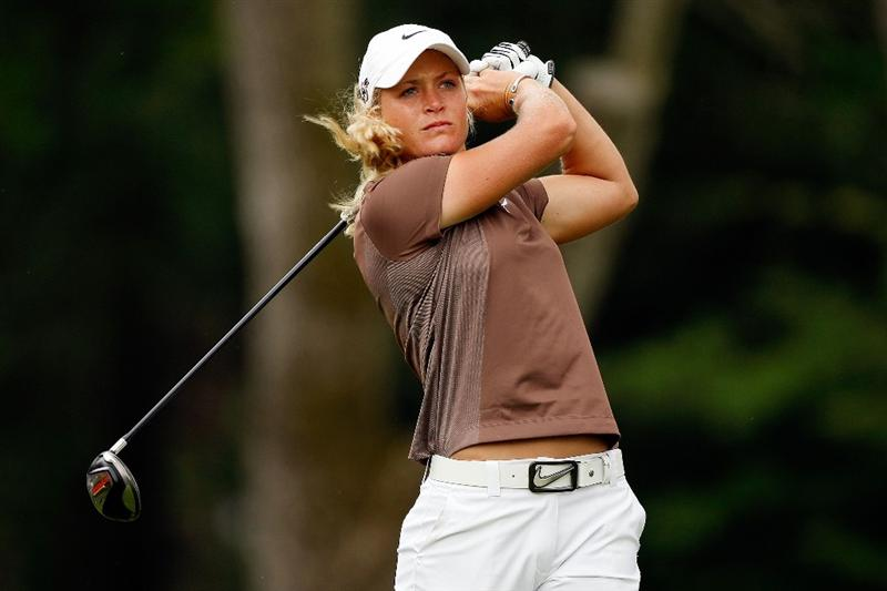 BETHLEHEM, PA - JULY 11:  Suzann Pettersen of Norway tees off on the 8th hole during the third round of the 2009 U.S. Women's Open at Saucon Valley Country Club on July 11, 2009 in Bethlehem, Pennsylvania.  (Photo by Chris Graythen/Getty Images)