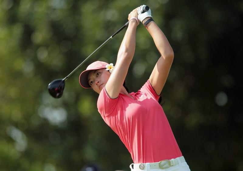 SINGAPORE - FEBRUARY 27:  Michelle Wie of the USA hits her tee shot on the 15th hole during the final round of the HSBC Women's Champions 2011 at the Tanah Merah Country Club on February 27, 2011 in Singapore, Singapore.  (Photo by Scott Halleran/Getty Images)