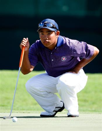 HONOLULU - JANUARY 17:  Tadd Fujikawa looks over a putt for birdie on the 18th hole during the third round of the Sony Open at Waialae Country Club on January 17, 2009 in Honolulu, Hawaii.  (Photo by Sam Greenwood/Getty Images)