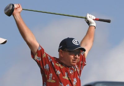 Kent Jones stretches  on the first tee during the final round of  the 2006 Honda Classic March 12 at the Country Club at Mirasol in Palm Beach Gardens, Florida.Photo by Al Messerschmidt/WireImage.com
