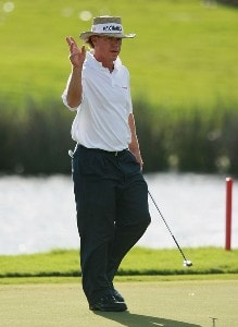 Briny Baird acknowledges the applause after a birdie on the ninth hole during the final round of the Ginn Sur Mer Classic at Tesoro Resort October 28, 2007 in Port Saint Lucie, Florida. PGA TOUR - 2007 Ginn sur Mer Classic - Final RoundPhoto by Doug Benc/WireImage.com