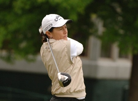 Rachel Hetherington drives off the first tee during the second round of the 2005 Franklin American Mortgage Championship at Vanderbilt Legends Club in Franklin, Tennessee on April 29, 2005.Photo by Al Messerschmidt/WireImage.com