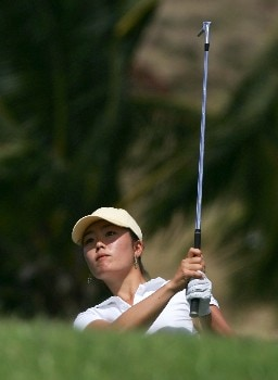 KAPOLEI, HI - FEBRUARY 22:  Angela Park watches her second shot on the 15th hole during the first round of the Fields Open at Ko Olina Golf Club on February 22, 2007 in Kapolei, Hawaii.  Park finished her opening round at six under par.  (Photo by Harry How/Getty Images)