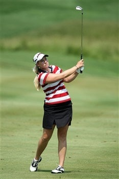 HAVRE DE GRACE, MD - JUNE 05: Brittany Lincicome of the U.S. hits her second shot to the 1st hole during the first round of the 2008 McDonald's LPGA Championship held at Bulle Rock Golf Course, on June 5, 2008 in Havre de Grace, Maryland. (Photo by David Cannon/Getty Images)