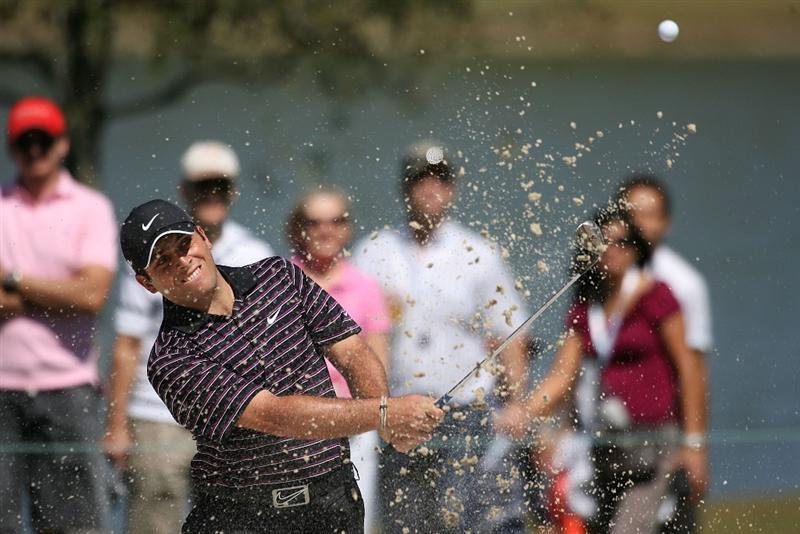 DORAL, FL - MARCH 13:  Francesco Molinari of Italy hits out of the bunker during round three of the 2010 WGC-CA Championship at the TPC Blue Monster at Doral on March 13, 2010 in Doral, Florida.  (Photo by Marc Serota/Getty Images)