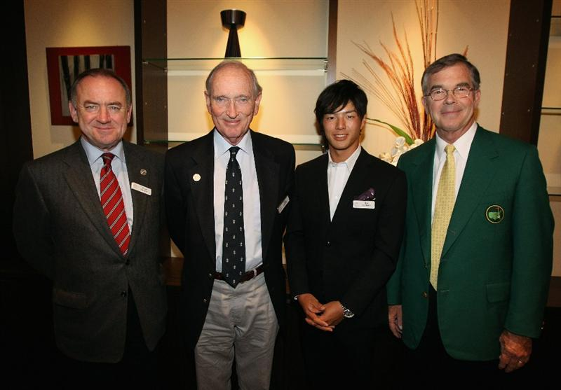 KAWAGOE CITY, JAPAN - OCTOBER 08:  (L-R) Peter Dawson (Chief Executive of the R&A), Allan Gormly (Chairman of the R&A), Ryo Ishikawa of Japan and Billy Payne (Chairman of the Masters Tournament) pose for a picture during the Asia Pacific Golf Confederation Gala Reception at Hikawa Shrine for the 2010 Asian Amateur Championship at Kasumigaseki Country Club on October 8, 2010 in Kawagoe City, Japan.  (Photo by Streeter Lecka/Getty Images)