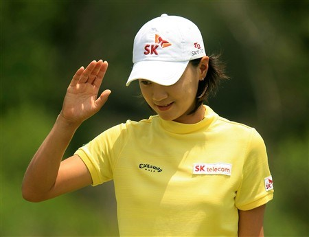 MT. PLEASANT, SC - MAY 31:  Na Yeon Choi of South Korea celebrates a birdie on the third hole during the third round of the Ginn Tribute at RiverTowne Country Club on May 31, 2008 in Mt. Pleasant, South Carolina.  (Photo by Scott Halleran/Getty Images)