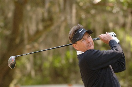 John Cook tees off on the 16th hole    during  the first round of the MCI Heritage at Harbour Town Golf Links April 14, 2005  at Hilton Head Island.Photo by Al Messerschmidt/WireImage.com
