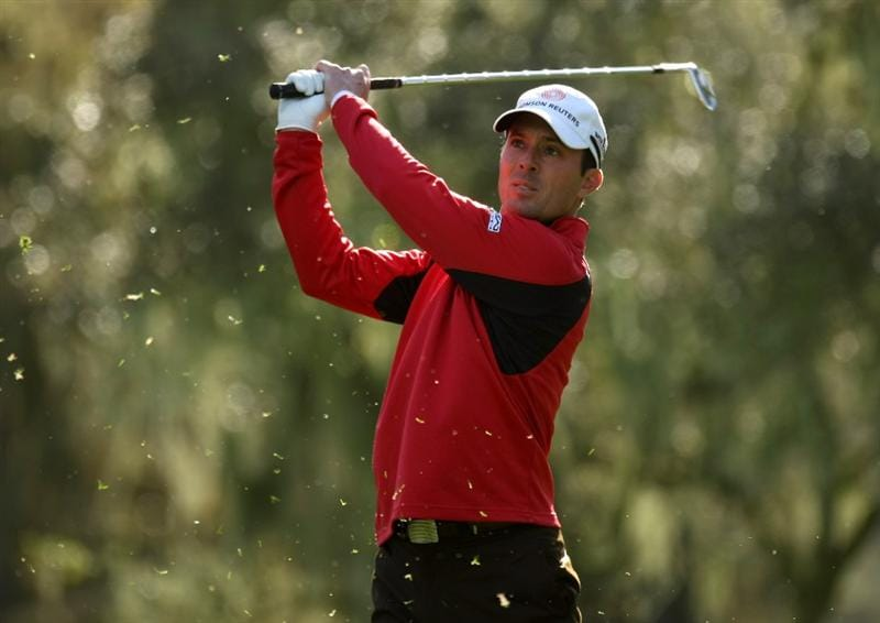 PEBBLE BEACH, CA - FEBRUARY 14:  Mike Weir of Canada hits his tee shot on the 12th hole  during the third round of the the AT&T Pebble Beach National Pro-Am at Spyglass Hill Golf Course on February 14, 2009 in Pebble Beach, California.  (Photo by Stephen Dunn/Getty Images)