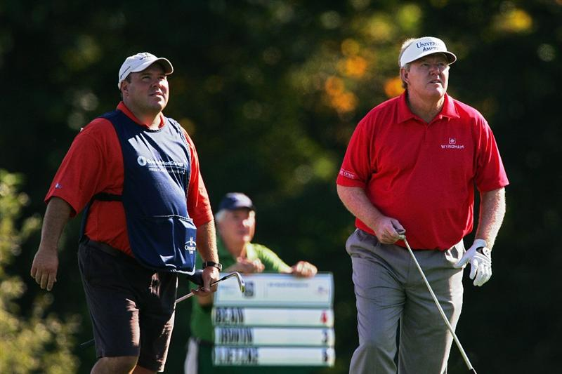 TIMONIUM, MD - OCTOBER 10:  Andy Bean (r)  watches his shot during the second round of the Constellation Energy Senior Players Championship at Baltimore Country Club East Course held on October 10, 2008 in Timonium, Maryland  (Photo by Michael Cohen/Getty Images)