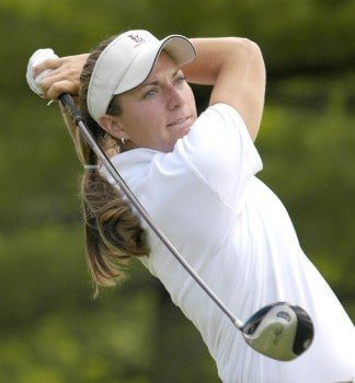 Brittany Lang tees off on the ninth hole during the second round of the 2005 BMO Financial Group Canadian Women's Open in Halifax, Nova Scotia on Friday, July 15, 2005.Photo by Kevin Rivoli/WireImage.com