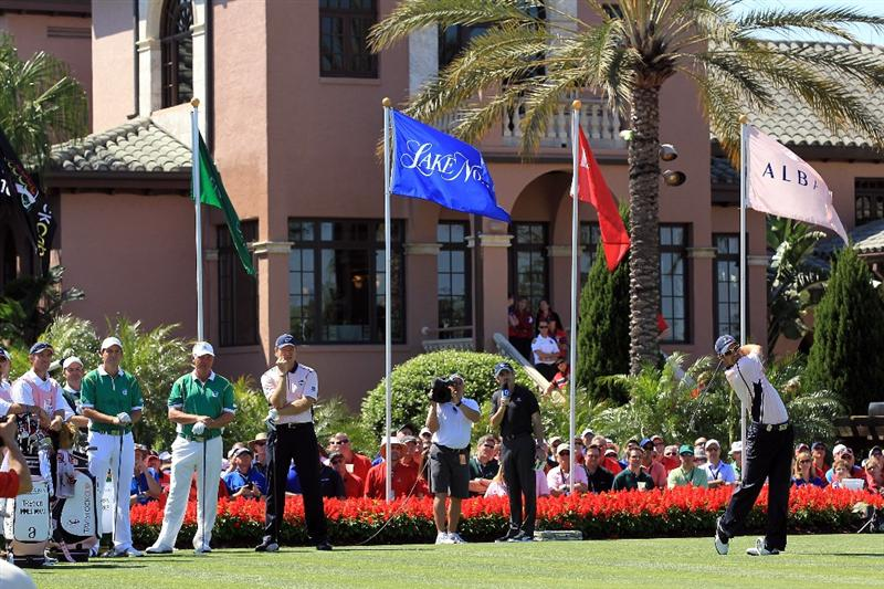 ORLANDO, FL - MARCH 14:  Trevor Immelman of South Africa and the Albany Club tees off at the 1st hole during the first day of the 2011 Tavistock Cup at Isleworth Golf Club on March 14, 2011 in Orlando, Florida.  (Photo by David Cannon/Getty Images)