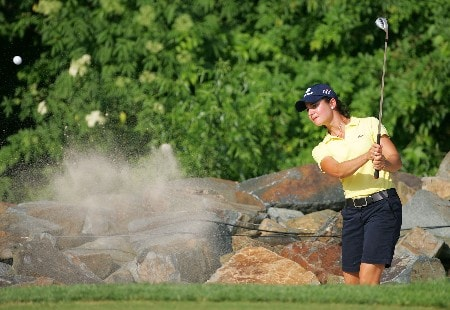 HAVRE DE GRACE, MD - JUNE 07:  Lorena Ochoa of Mexico hits her second shot on the par 3 17th hole during the first round of the McDonalds LPGA Championship at Bulle Rock golf course on June 7, 2007 in Havre de Grace, Maryland.  (Photo by Andy Lyons/Getty Images)