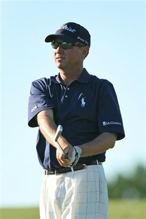 SEA ISLAND, GA - OCTOBER 7 : Davis Love III watches his second shot on the 18th hole during the first round of the McGladrey Classic at Sea Island Seaside Course on October 7, 2010 in Sea Island, Georgia. (Photo by Hunter Martin/Getty Images)