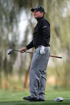 LA QUINTA, CA - JANUARY 16:  Jason Bohn reatcs to his tee shot on the 16th hole during the first round of the 49th Bob Hope Chrysler Classic at the Silverrock Resort on January 16, 2008 in La Quinta, California.  (Photo by Harry How/Getty Images)