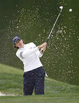 WILLIAMSBURG, VA - MAY 10: Juli Inkster hits her third shot on the 18th hole during the third round of the Michelob Ultra Open at Kingsmill Resort & Spa on May 10, 2008 in Williamsburg, Virginia. (Photo by Hunter Martin/Getty Images)