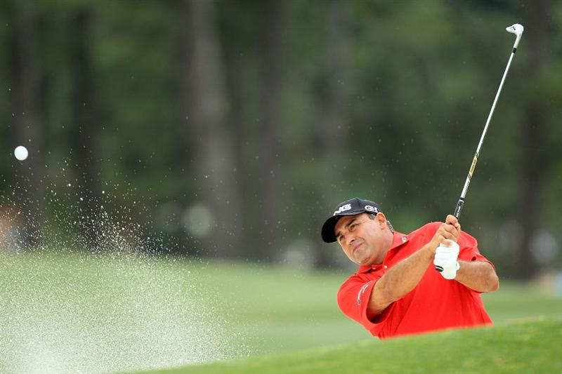AUGUSTA, GA - APRIL 08:  Angel Cabrera of Colombia plays his third shot from a bunker on the 17th hole during the first round of the 2010 Masters Tournament at Augusta National Golf Club on April 8, 2010 in Augusta, Georgia.  (Photo by David Cannon/Getty Images)