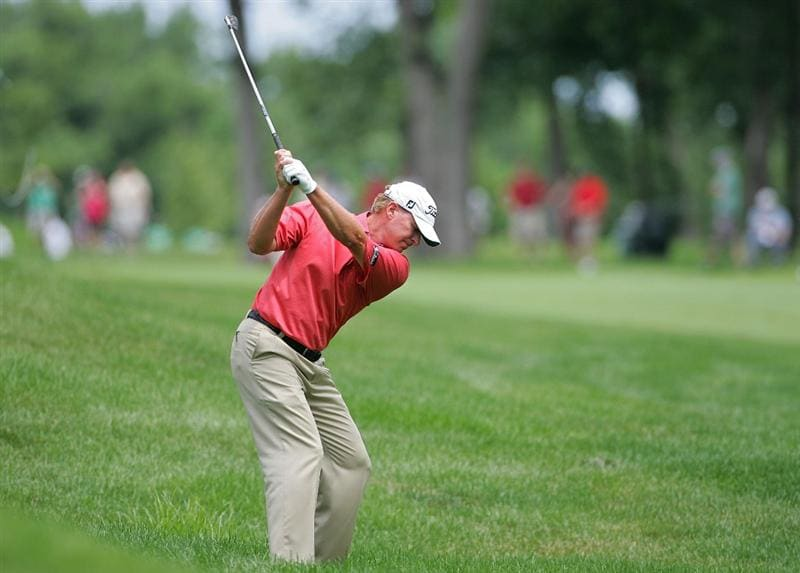 SILVIS, IL - JULY 12:  Steve Stricker of the USA plays his second shot from the rough on the 17th hole during the third round of the John Deere Classic at TPC Deere Run held on July 12, 2009 in Silvis, Illinois.  (Photo by Michael Cohen/Getty Images)