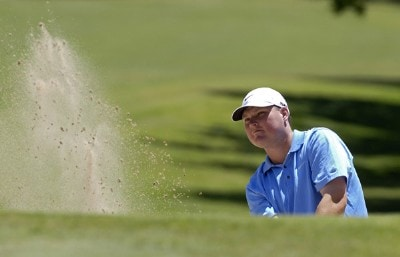 Chad Campbell blasts out of the greenside bunker on the 5th hole during the third round of the Bank of America Colonial held at the Colonial Country Club on Saturday , May 20, 2006 in Ft. Worth, TexasPhoto by Marc Feldman/WireImage.com
