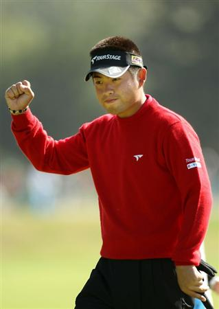 PEBBLE BEACH, CA - JUNE 17:  Yuta Ikeda of Japan  celebrates a birdie putt on the third green during the first round of the 110th U.S. Open at Pebble Beach Golf Links on June 17, 2010 in Pebble Beach, California.  (Photo by Ross Kinnaird/Getty Images)
