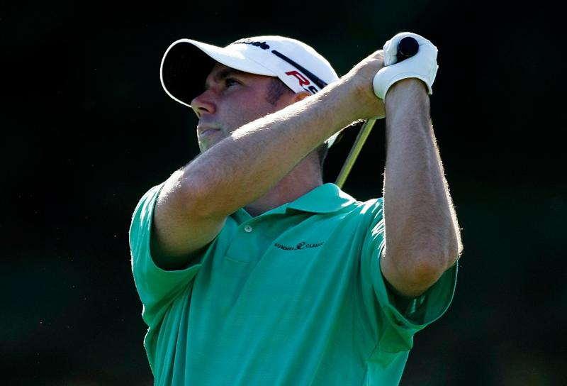 BOISE, ID - SEPTEMBER 18:  Josh Teater hits his second shot on the 7th hole during the second round of the Albertson's Boise Open at Hillcrest Country Club on September 18, 2009 in Boise, Idaho.  (Photo by Jonathan Ferrey/Getty Images)