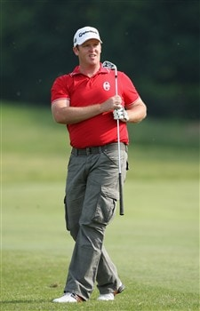 MILAN, ITALY - MAY 09:  Marcus Fraser of Australia watches his approach shot on the sixth hole during the second round of the MC Methorios Capital Italian Open Golf at The Castello Di Tolcinasco Golf Club on May 9, 2008 in Milan, Italy.  (Photo by Stuart Franklin/Getty Images)