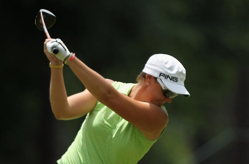 MOBILE, AL - MAY 01:  Maria Hjorth of Sweden hits her tee shot on the fifth hole during the final round of the Avnet LPGA Classic at the Crossings Course at the Robert Trent Jones Trail at Magnolia Grove on May 1, 2011 in Mobile, Alabama.  (Photo by Scott Halleran/Getty Images)