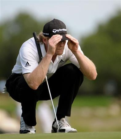 SAN ANTONIO, TX - MAY 15:  James Driscoll lines up a birdie putt on the 5th green during the second round of the Valero Texas Open at the TPC San Antonio on May 15, 2010 in San Antonio, Texas. (Photo by Marc Feldman/Getty Images)