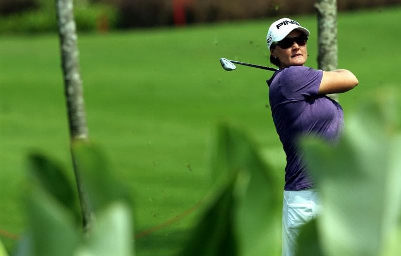 KUALA LUMPUR, MALAYSIA - OCTOBER 23 : Maria Hjorth of Sweden plays her 2nd shot on the 3rd hole during Round Two of the Sime Darby LPGA on October 23, 2010 at the Kuala Lumpur Golf and Country Club in Kuala Lumpur, Malaysia. (Photo by Stanley Chou/Getty Images)