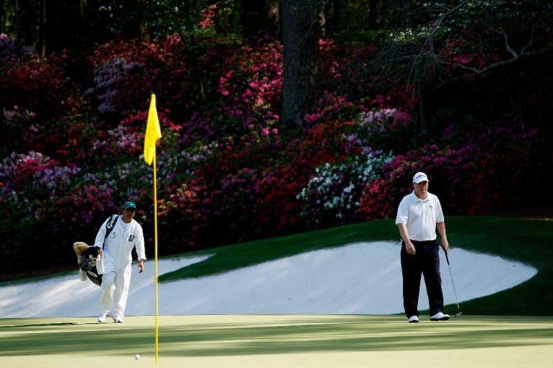 AUGUSTA, GA - APRIL 09:  Chad Campbell walks to the 13th green with his caddie Judd Burkett during the first round of the 2009 Masters Tournament at Augusta National Golf Club on April 9, 2009 in Augusta, Georgia.  (Photo by Jamie Squire/Getty Images)