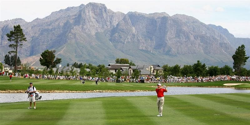 PAARL, SOUTH AFRICA - DECEMBER 20:  Lee Westwood of England plays his second shot into the 16th greenduring the third round of the South African Open Championship at Pearl Valley Golf & Country Club on December 20, 2008 in Paarl, South Africa.  (Photo by Warren Little/Getty Images)
