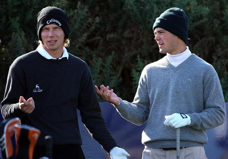 KINGSBARNS, UNITED KINGDOM - OCTOBER 01:  Marcel Siem (L) and Martin Kaymer (both of Gemany) chat together on the first hole during the final practice round of The Alfred Dunhill Links Championship at Kingsbarns Golf Links on October 1, 2008 in Kingbarns, Scotland.  (Photo by Andrew Redington/Getty Images)