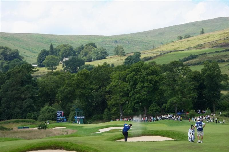 LUSS, SCOTLAND - JULY 11:  Lee Westwood of England hits his approach shot on the 13th hole during the Third Round of The Barclays Scottish Open at Loch Lomond Golf Club on July 11, 2009 in Luss, Scotland.  (Photo by Andrew Redington/Getty Images)