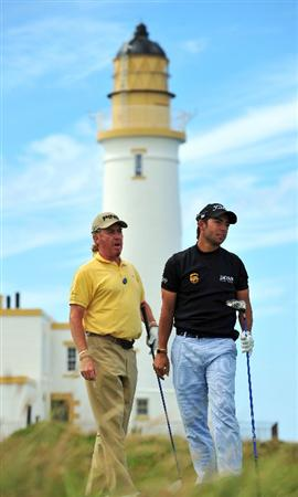 TURNBERRY, SCOTLAND - JULY 13:  Miguel Angel Jimenez and Pablo Larrazabal of Spain on the 10th tee during the practice round of the 138th Open Championship on July 13, 2009 on the Ailsa Course, Turnberry Golf Club, Turnberry, Scotland.  (Photo by Stuart Franklin/Getty Images)
