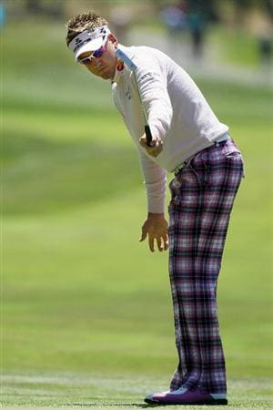 PEBBLE BEACH, CA - JUNE 17:  Ian Poulter of England watches a birdie putt on the 13th green  during the first round of the 110th U.S. Open at Pebble Beach Golf Links on June 17, 2010 in Pebble Beach, California.  (Photo by Stephen Dunn/Getty Images)