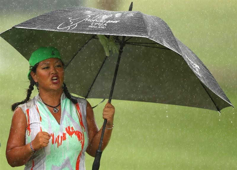 GOLD COAST, AUSTRALIA - MARCH 05:  Christina Kim of the USA celebrates after playing a shot on the 8th hole during round two of the 2010 ANZ Ladies Masters at Royal Pines Resort on March 5, 2010 in Gold Coast, Australia.  (Photo by Ryan Pierse/Getty Images)