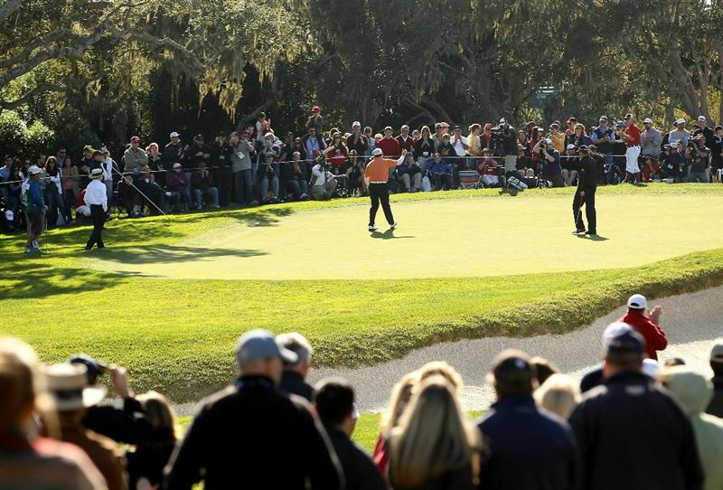 PEBBLE BEACH, CA - FEBRUARY 13:  D.A. Points waves to the crowd after making a putt on the 16th hole during the final round of the AT&T Pebble Beach National Pro-Am at the Pebble Beach Golf Links on February 13, 2011 in Pebble Beach, California.  (Photo by Ezra Shaw/Getty Images)