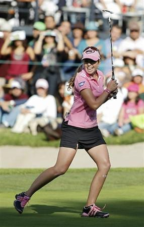 GUADALAJARA, MEXICO - NOVEMBER 14:  Paula Creamer of the United States reacts as she leaves her birdie putt on the 18th green on the lip of the cup during the final round of the Lorena Ochoa Invitational Presented by Banamex and Corona Light at Guadalajara Country Club on November 14, 2010 in Guadalajara, Mexico.  (Photo by Michael Cohen/Getty Images)