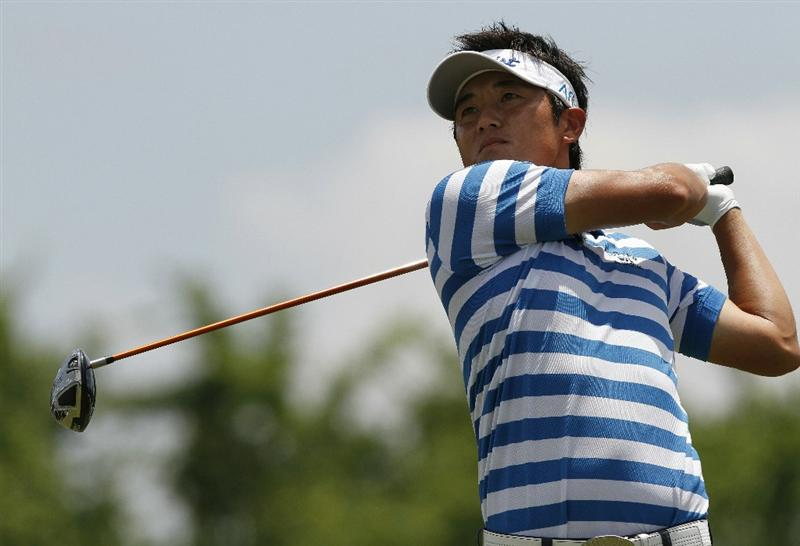 MEMPHIS, TN - JUNE 12: Ryuji Imada of Japan watches his tee shot on the 9th hole during the third round of the St. Jude Classic at TPC Southwind held on June 12, 2010 in Memphis, Tennessee.  (Photo by John Sommers II/Getty Images)
