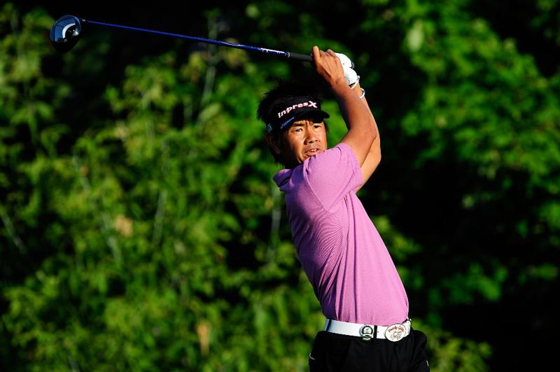 CHASKA, MN - AUGUST 13:  Hiroyuki Fujita of Japan watches his tee shot on the tenth hole during the first round of the 91st PGA Championship at Hazeltine National Golf Club on August 13, 2009 in Chaska, Minnesota.  (Photo by Sam Greenwood/Getty Images)