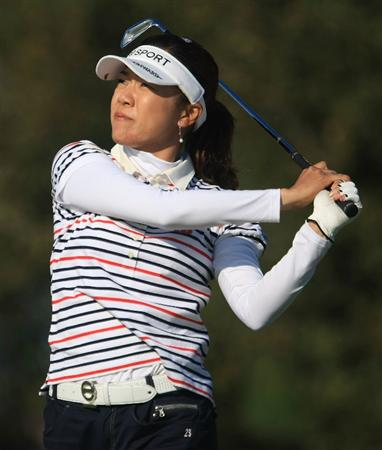 DAYTONA BEACH, FL - DECEMBER 06:  Shiho Oyama of Japan hits her tee shot on the 17th hole during the fourth round of the LPGA Qualifying School at LPGA International on December 6, 2008 in Daytona Beach, Florida.  (Photo by Scott Halleran/Getty Images)