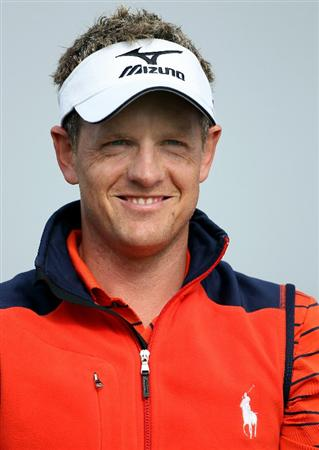 NEWPORT, WALES - JUNE 02:  Luke Donald of England smiles on the first hole during the Pro Am prior to the start of the Celtic Manor Wales Open on The Twenty Ten Course at The Celtic Manor Resort on June 2 2010 in Newport, Wales.  (Photo by Andrew Redington/Getty Images)