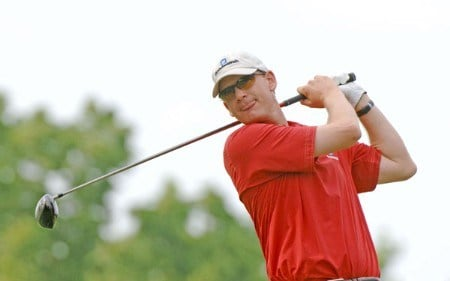 Tom Gillis tees off on the 15th hole during the first round of the 2005 Cialis Western Open at Cog Hill Golf and Country Club in Lemont, Illinois on June 30, 2005.Photo by Al Messerschmidt/WireImage.com