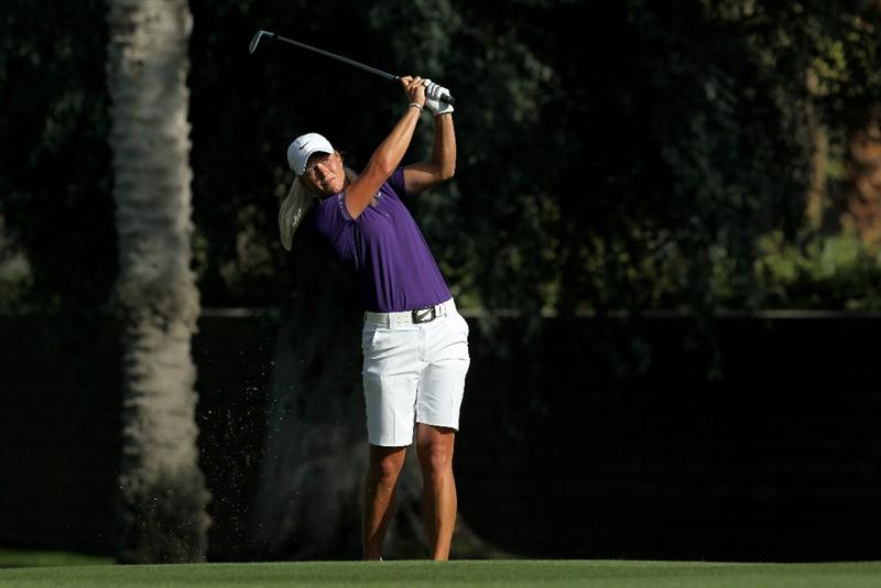 RANCHO MIRAGE, CA - APRIL 03:  Suzann Pettersen of Norway hits her second shot on the 15th hole during the third round of the Kraft Nabisco Championship at Mission Hills Country Club on April 3, 2010 in Rancho Mirage, California.  (Photo by Stephen Dunn/Getty Images)